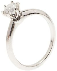 Tiffany & Co. H Vvs1 Round Brilliant Diamond Solitaire Ring Size 52.5 - Metallic