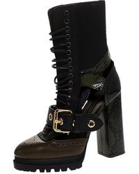 Burberry Black/brown Leather And Snakeskin Water Marsh Ankle Boots