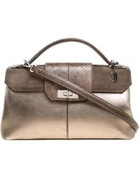 Cartier - Dark Leather And Python Classic Feminine Line Top Handle Bag - Lyst
