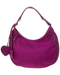 Dior Magenta Oblique Canvas And Leather Hobo - Pink