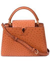 Louis Vuitton Brown Ostrich Capucines Mm Bag