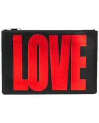 Givenchy Black Leather Love Clutch Bag