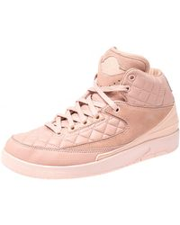 Nike Air Jordan 2 Retro X Just Don Blush Pink Quilted Leather And Suede High Top Sneakers Size 38.5