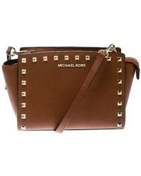 MICHAEL Michael Kors - Brown Leather Medium Studded Selma Crossbody Bag - Lyst