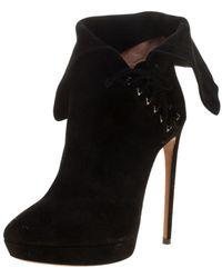 Alaïa Black Suede Lace Up Platform Ankle Boots