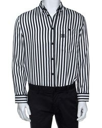 Givenchy Monochrome Striped Print Silk Blend Button Front Shirt - Black