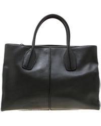 Tod's Dark Gray Leather D-styling Shopper Tote