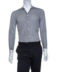 Dior Monochrome Striped Cotton Mandarin Collar Button Front Shirt Xs - Black