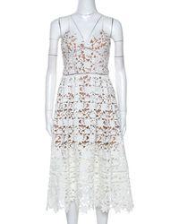 Self-Portrait Floral Guipure Lace Noodle Strap Azaelea Midi Dress M - White