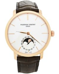 Frederique Constant Rose Gold Plated Stainless Steel Leather Slimline Moonphase Wristwatch - Metallic