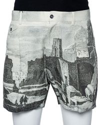 Dolce & Gabbana Green Roman Ruins Printed Cotton Pleated Shorts