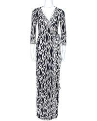 Diane von Furstenberg Monochrome Printed Silk Banded Julian Long Wrap Dress S - Black