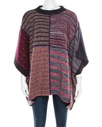See By Chloé Multicolour Patchwork Oversized Poncho Style Jumper