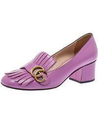 Gucci Lavender Leather GG Marmont Fringe Loafer Pumps - Purple