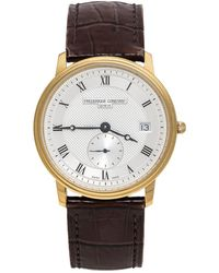 Frederique Constant Silver Yellow Gold Plated Stainless Steel Crococalf Leather Classic Slim Line Wristwatch - Brown