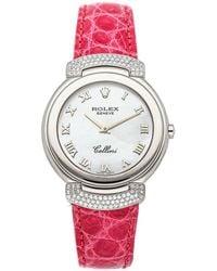 Rolex Mop Diamonds 18k White Gold Cellini Cellissima 6682/9 Women's Wristwatch 33 Mm - Pink
