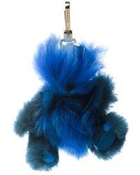 Burberry Blue Thomas Bear Pom-pom Bag Charm / Keychain