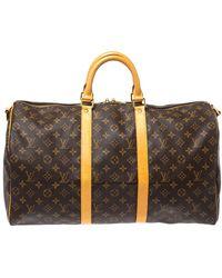 Louis Vuitton Monogram Canvas Keepall Bandouliere 50 Bag - Brown