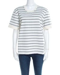 Louis Vuitton White And Navy Blue Striped Jersey Short Sleeve T-shirt