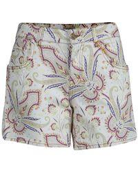 Etro Paisley Printed Denim Shorts - Blue