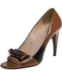 Prada Two Tone Patent Leather Bow Open Toe Court Shoes - Brown