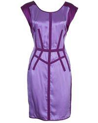 Narciso Rodriguez Purple Satin Panel Shift Dress