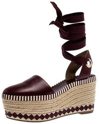 Tory Burch Burgundy Leather Dandy Ankle Wrap Espadrille Wedge Sandals Size 37.5 - Multicolour