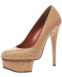 Charlotte Olympia Beige Ostrich Embossed Leather Dolly Platform Court Shoes - Natural