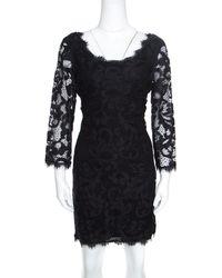 Diane von Furstenberg Black Floral Lace Zarita Scoop Dress L