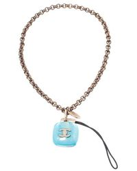 Chanel Cc Logo Resin Charm Gold Tone Cell Phone Strap - Blue