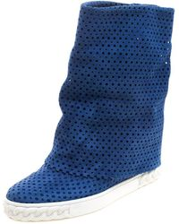 Casadei - Cobalt Blue Perforated Suede Wedge Boots - Lyst