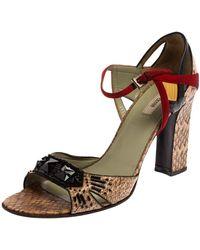 Prada Multicolor Python And Leather Embellished Ankle Strap Sandals