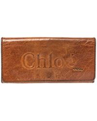 Chloé Tan Leather Continental Wallet - Brown