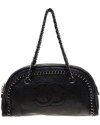 883411ea651 Chanel - Black Leather Medium Chain Trim Luxe Ligne Bowler Bag - Lyst