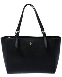 Tory Burch Black Leather Medium York Buckle Tote
