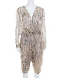 Roberto Cavalli Beige Printed Silk Gathered Waist Detail Cropped Harem Jumpsuit - Natural