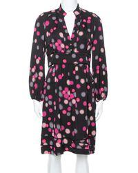 Diane von Furstenberg Black Polka Dots Silk Half Sleeve Midi Dress