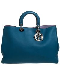 Dior Blue Leather Extra Large Issimo Shopper Tote