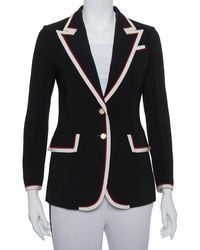 Gucci Black Crepe Trim Detail Blazer