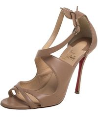 Christian Louboutin - Beige Leather Malefissima Sandals - Lyst