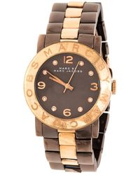 Marc By Marc Jacobs Brown Two-tone Stainless Steel Mbm3195 Women's Wristwatch 36 Mm - Metallic
