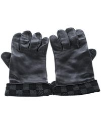 Louis Vuitton - Leather Damier Graphite Print Gloves L - Lyst