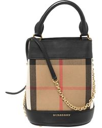 Burberry Black/beige House Check Canvas And Leather Mini Bucket Chain Bag