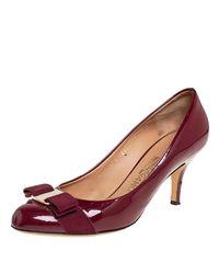 Ferragamo Burgundy Patent Leather Vara Bow Court Shoes - Multicolour
