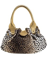 Roberto Cavalli Beige/gold Leopard Print Canvas And Leather Satchel - Natural