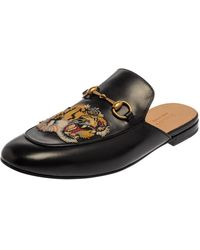 Gucci Black Tiger Embroidered Leather Princetown Horsebit Mules
