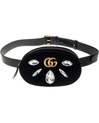 Gucci Black Matelassé Velvet Crystal Embellished GG Marmont Belt Bag
