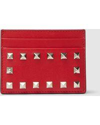 Valentino Leather Rockstud Card Holder - Red