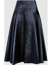 OSMAN - Navy Flared Lurex Skirt - Size 8 - Lyst
