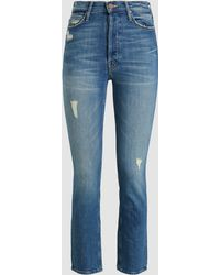 Mother The Dazzler Button Fly Cropped Jeans - Blue